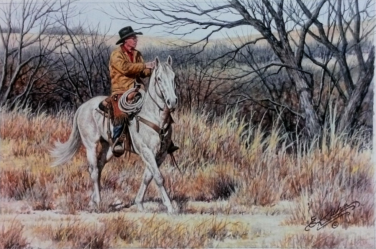 Makin' One More Pass - original watercolor by Earl Kuhn
